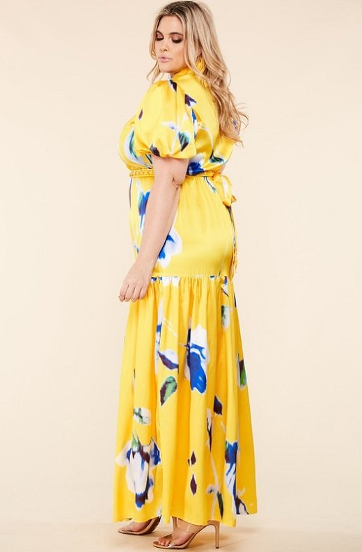 Yellow Floral Print Ruffle Wrap Belted Maxi Dress Plus Size 3