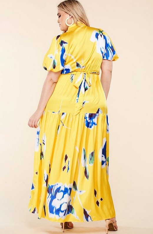 Yellow Floral Print Ruffle Wrap Belted Maxi Dress Plus Size 4