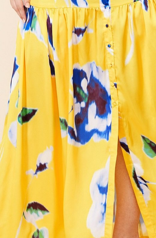 Yellow Floral Print Ruffle Wrap Belted Maxi Dress Plus Size 6