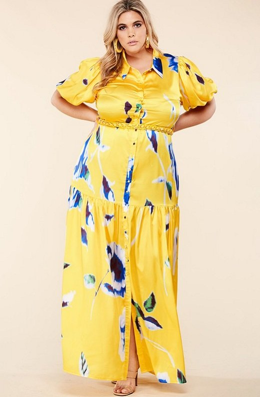 Yellow Floral Print Ruffle Wrap Belted Maxi Dress Plus Size 7