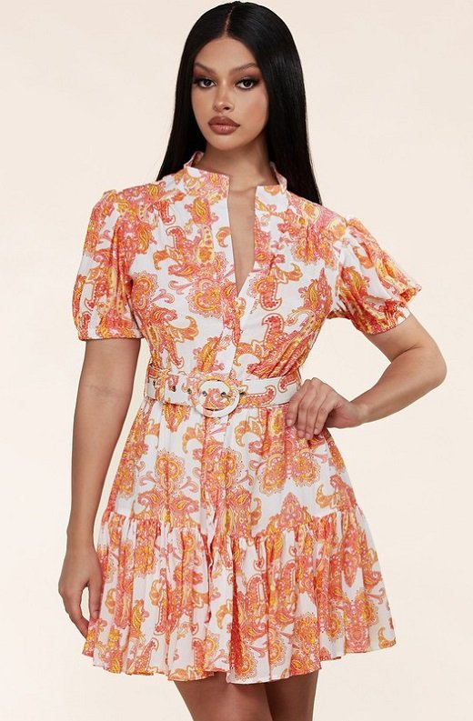 Coral Paisley Button Down Mini Dress 1