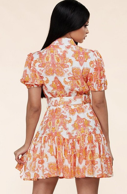 Coral Paisley Button Down Mini Dress 3