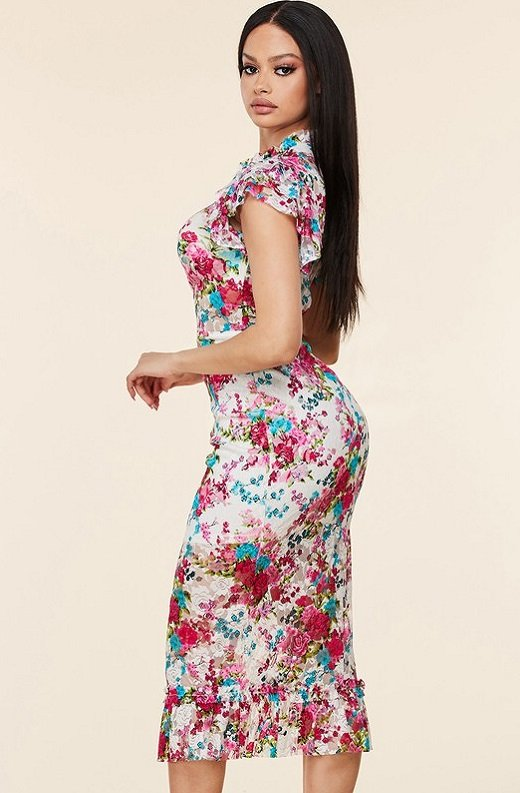 Fuchsia Daisy Sheer Curve Hugging Midi Dress 3