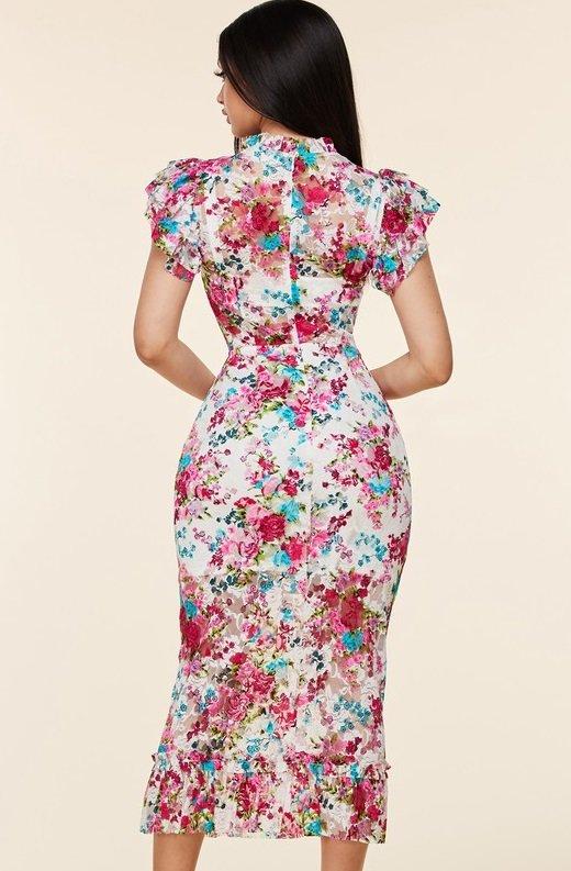 Fuchsia Daisy Sheer Curve Hugging Midi Dress 4