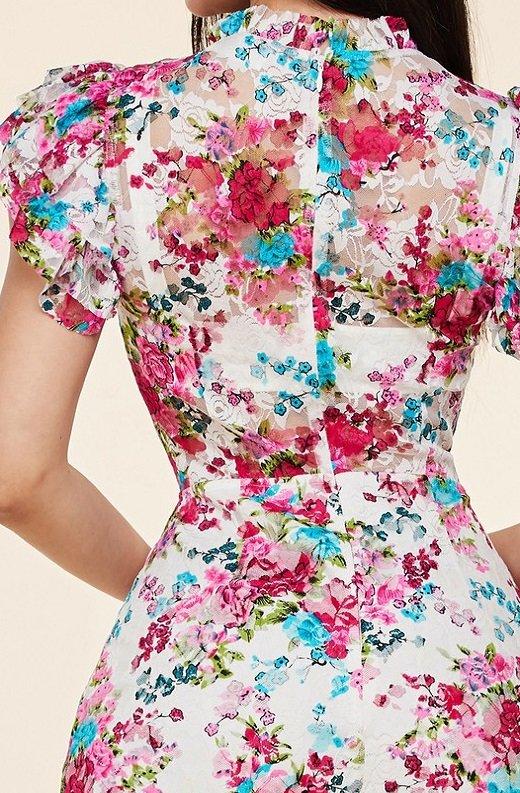 Fuchsia Daisy Sheer Curve Hugging Midi Dress 5