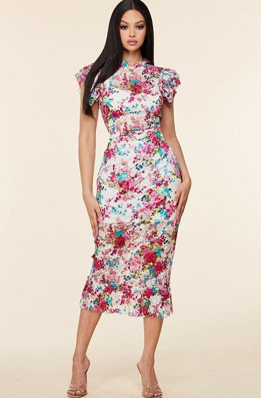 Fuchsia Daisy Sheer Curve Hugging Midi Dress 6