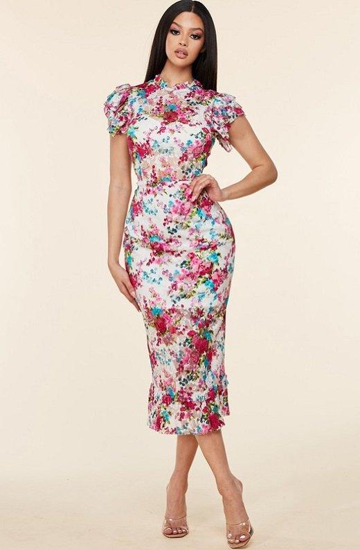 Fuchsia Daisy Sheer Curve Hugging Midi Dress 7