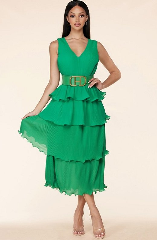 Hunter Green Pleated V Neck Midi Dress 1