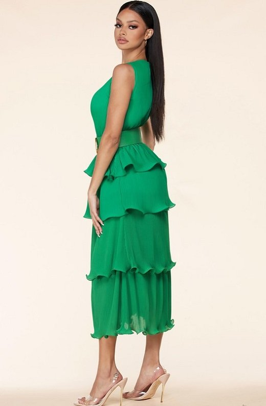 Hunter Green Pleated V Neck Midi Dress 2