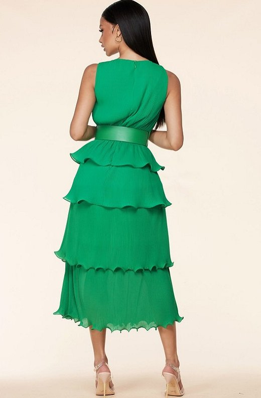 Hunter Green Pleated V Neck Midi Dress 3