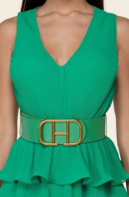 Hunter Green Pleated V Neck Midi Dress 4