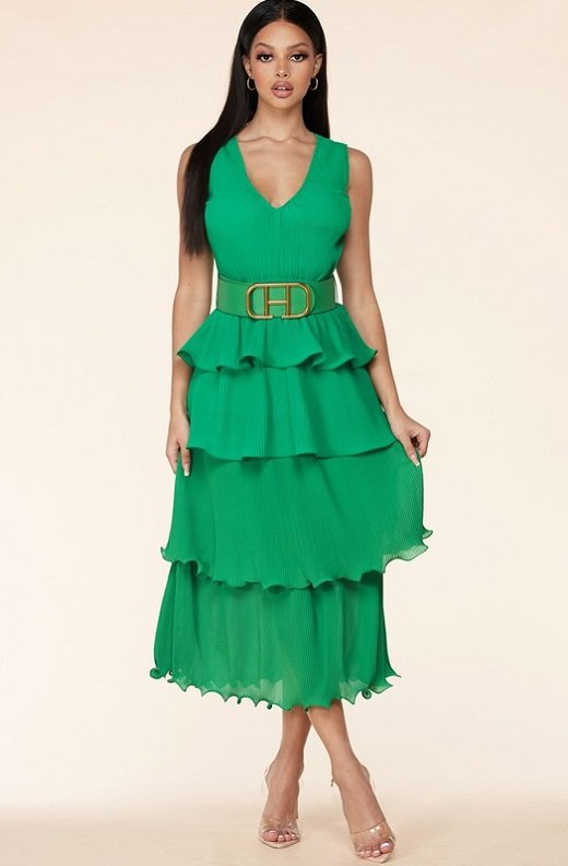 Hunter Green Pleated V Neck Midi Dress 6