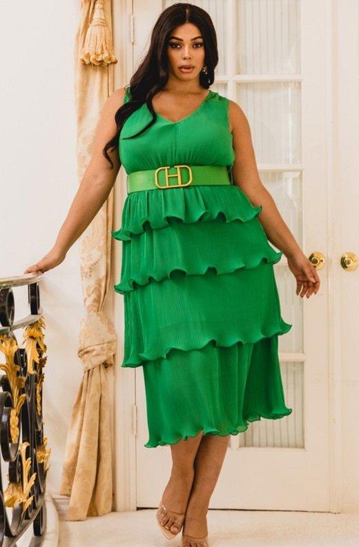 Hunter Green Pleated V Neck Midi Dress Plus Size 1