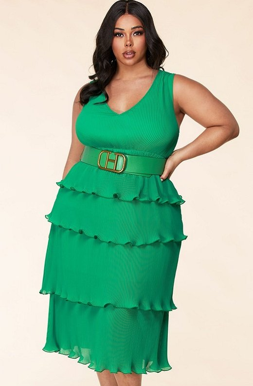 Hunter Green Pleated V Neck Midi Dress Plus Size 2