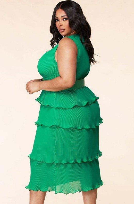 Hunter Green Pleated V Neck Midi Dress Plus Size 3