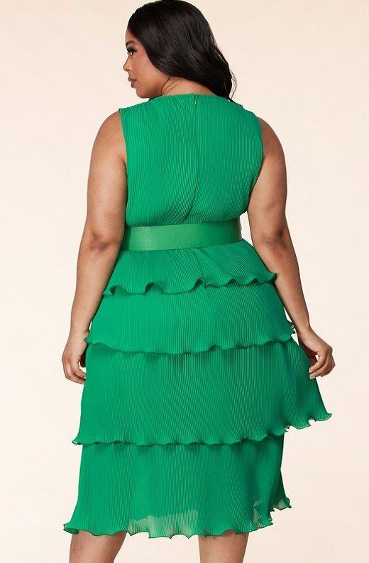 Hunter Green Pleated V Neck Midi Dress Plus Size 4