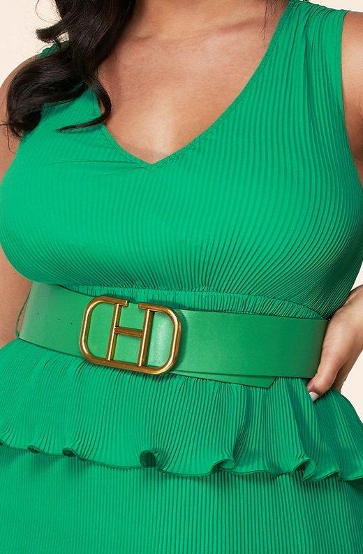 Hunter Green Pleated V Neck Midi Dress Plus Size 5