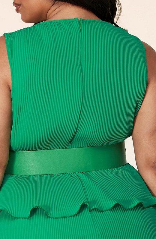 Hunter Green Pleated V Neck Midi Dress Plus Size 6