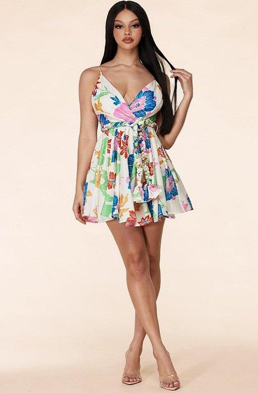 Multi Color Flower Skirt Godet Dress 5