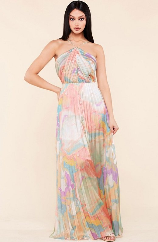 Multi Color Pleated Halter Robe Maxi Dress 1