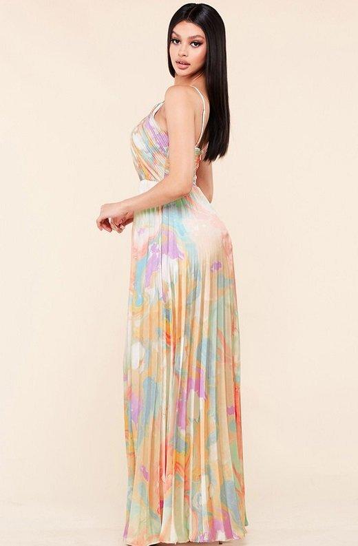 Multi Color Pleated Halter Robe Maxi Dress 2