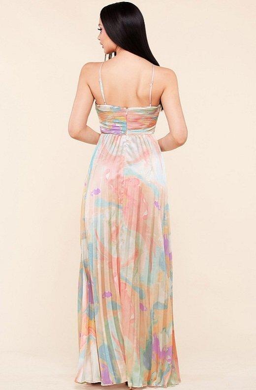 Multi Color Pleated Halter Robe Maxi Dress 3
