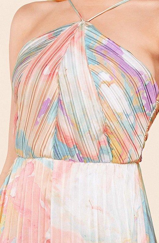 Multi Color Pleated Halter Robe Maxi Dress 4