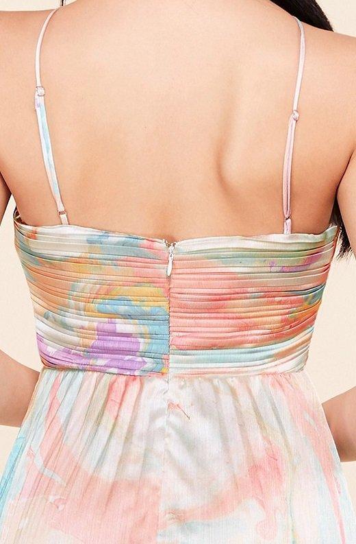 Multi Color Pleated Halter Robe Maxi Dress 5