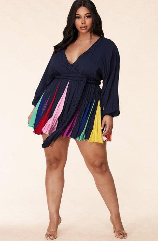 Navy Short Multi Color Skirt Godet Dress 2