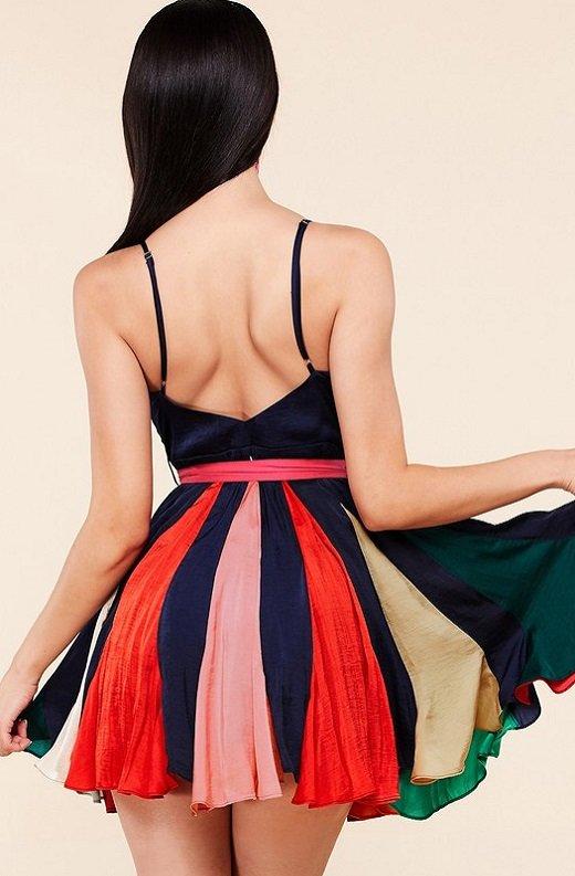 Navy Tie Print Sleeveless Godet Wrap Tie Waist Dress 3