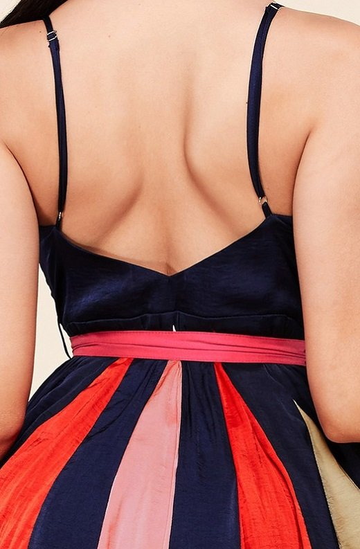 Navy Tie Print Sleeveless Godet Wrap Tie Waist Dress 5
