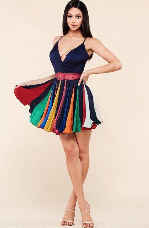 Navy Tie Print Sleeveless Godet Wrap Tie Waist Dress 6