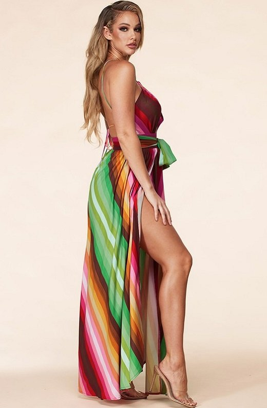 Pink Chevron Striped Twisted Front Cutout Maxi Dress 2