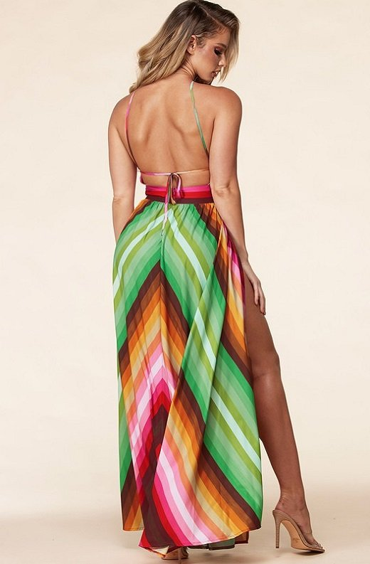 Pink Chevron Striped Twisted Front Cutout Maxi Dress 3