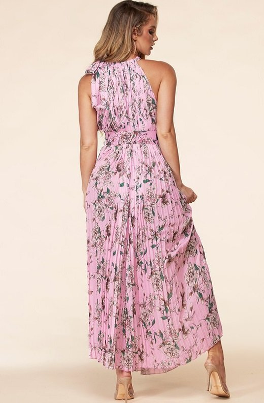 Pink Flower Pleated Halter Maxi dress 6