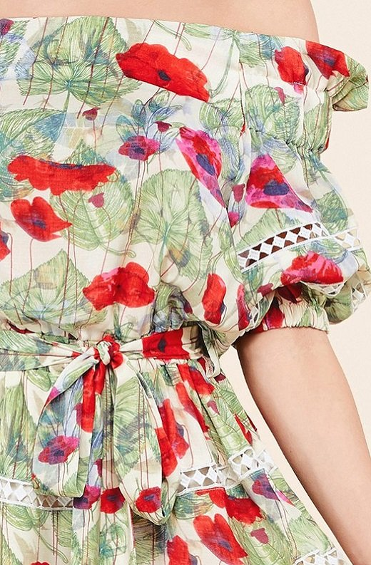 Red Floral Belted Off Shoulder Mini Dress 4