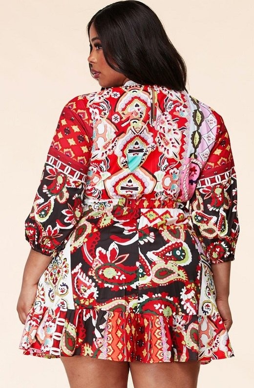 Red Floral Paisley Long Sleeve Skater Dress Plus Size 3