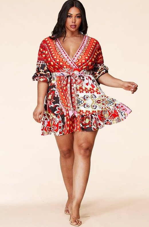 Red Floral Paisley Long Sleeve Skater Dress Plus Size 5