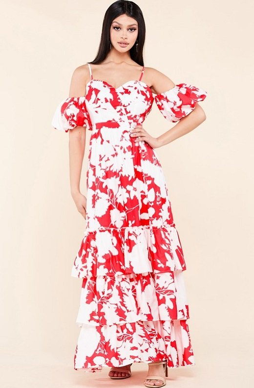 Red Strawberry Flower Print Off Shoulder Ruffle Skirt Dress 1