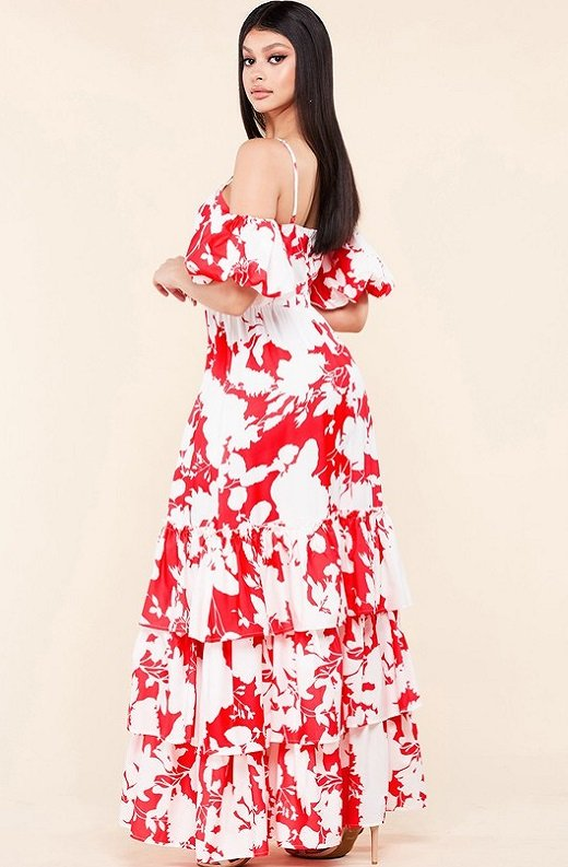 Red Strawberry Flower Print Off Shoulder Ruffle Skirt Dress 2