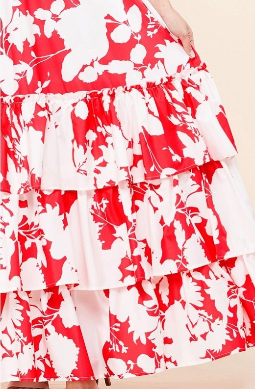 Red Strawberry Flower Print Off Shoulder Ruffle Skirt Dress 6