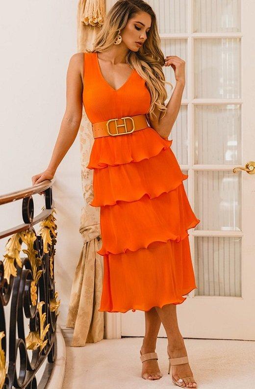 Tangerine Pleated V Neck Midi Dress 1