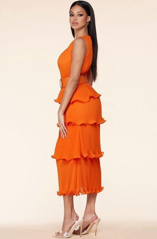 Tangerine Pleated V Neck Midi Dress 2