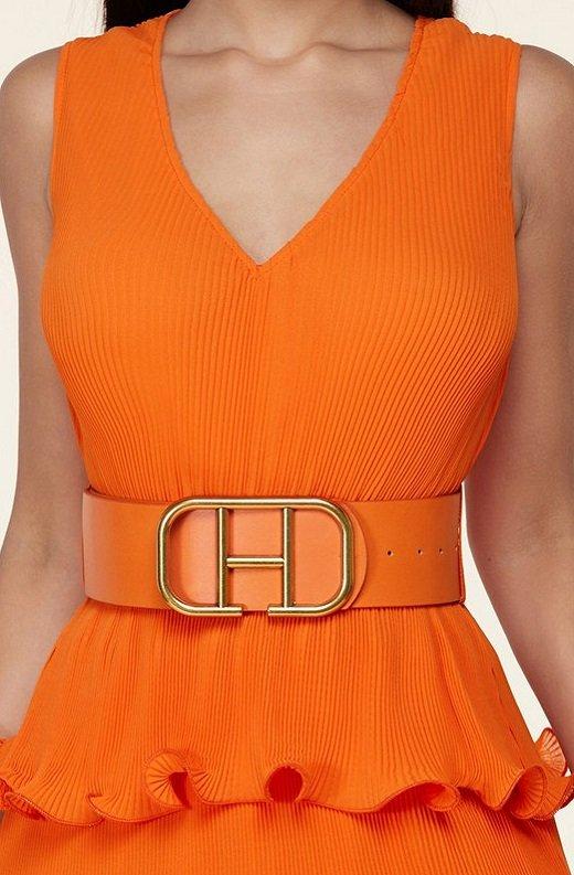 Tangerine Pleated V Neck Midi Dress 4