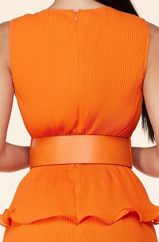 Tangerine Pleated V Neck Midi Dress 5