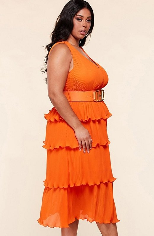 Tangerine Pleated V Neck Midi Dress Plus Size 2