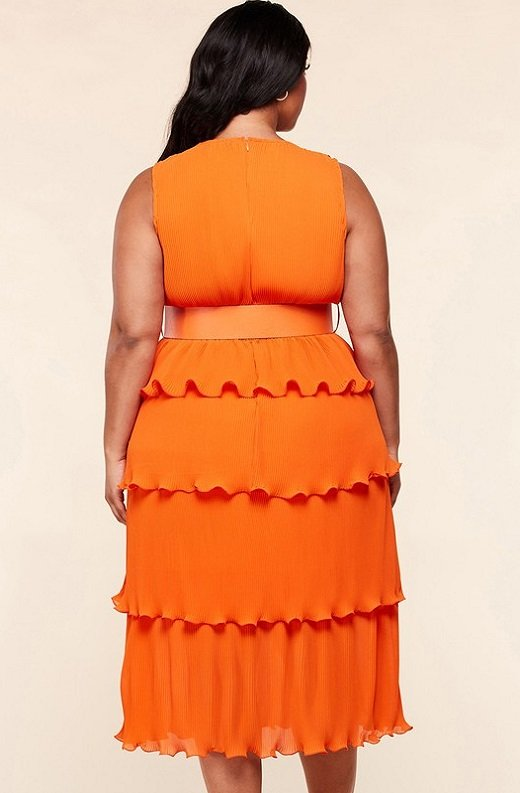 Tangerine Pleated V Neck Midi Dress Plus Size 3