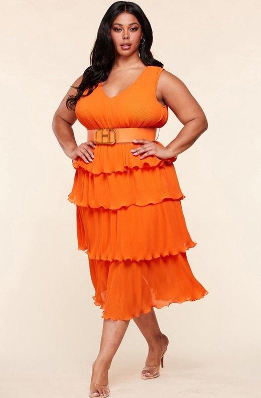 Tangerine Pleated V Neck Midi Dress Plus Size 5