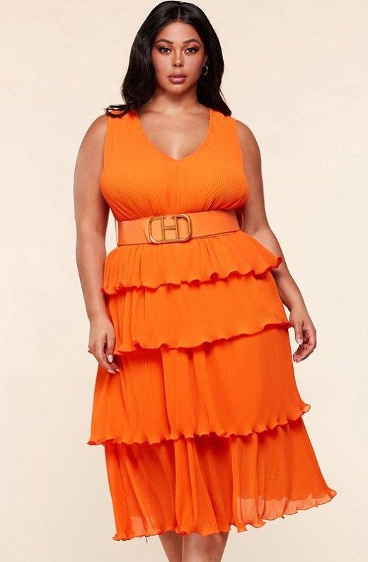 Tangerine Pleated V Neck Midi Dress Plus Size