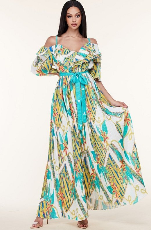 Teal Green Flower Off Shoulder Pleated Maxi dress 1